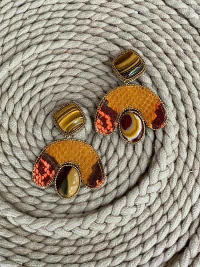Releve Fashion Bea Valdes Mustard Stone and Snakeskin Earrings Handmade Luxury Accessories Ethical Jewelry Designers Sustainable Fashion Brands Artisanal Purchase with Purpose Shop for Good