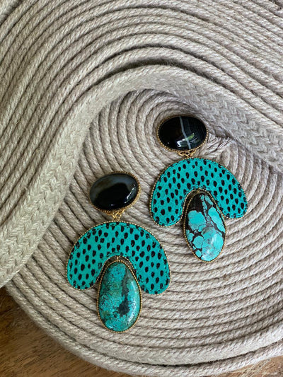 Releve Fashion Bea Valdes Turquoise Stone and Snakeskin Earrings Handmade Luxury Accessories Ethical Jewelry Designers Sustainable Fashion Brands Artisanal Purchase with Purpose Shop for Good