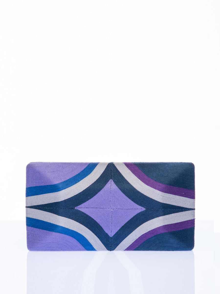 Releve Fashion Beatriz Purple Navy Grey Diamond Cheska Clutch Bag Ethical Designers Sustainable Fashion Brands Artisanal Handmade Accessories Purchase with Purpose Shop for Good