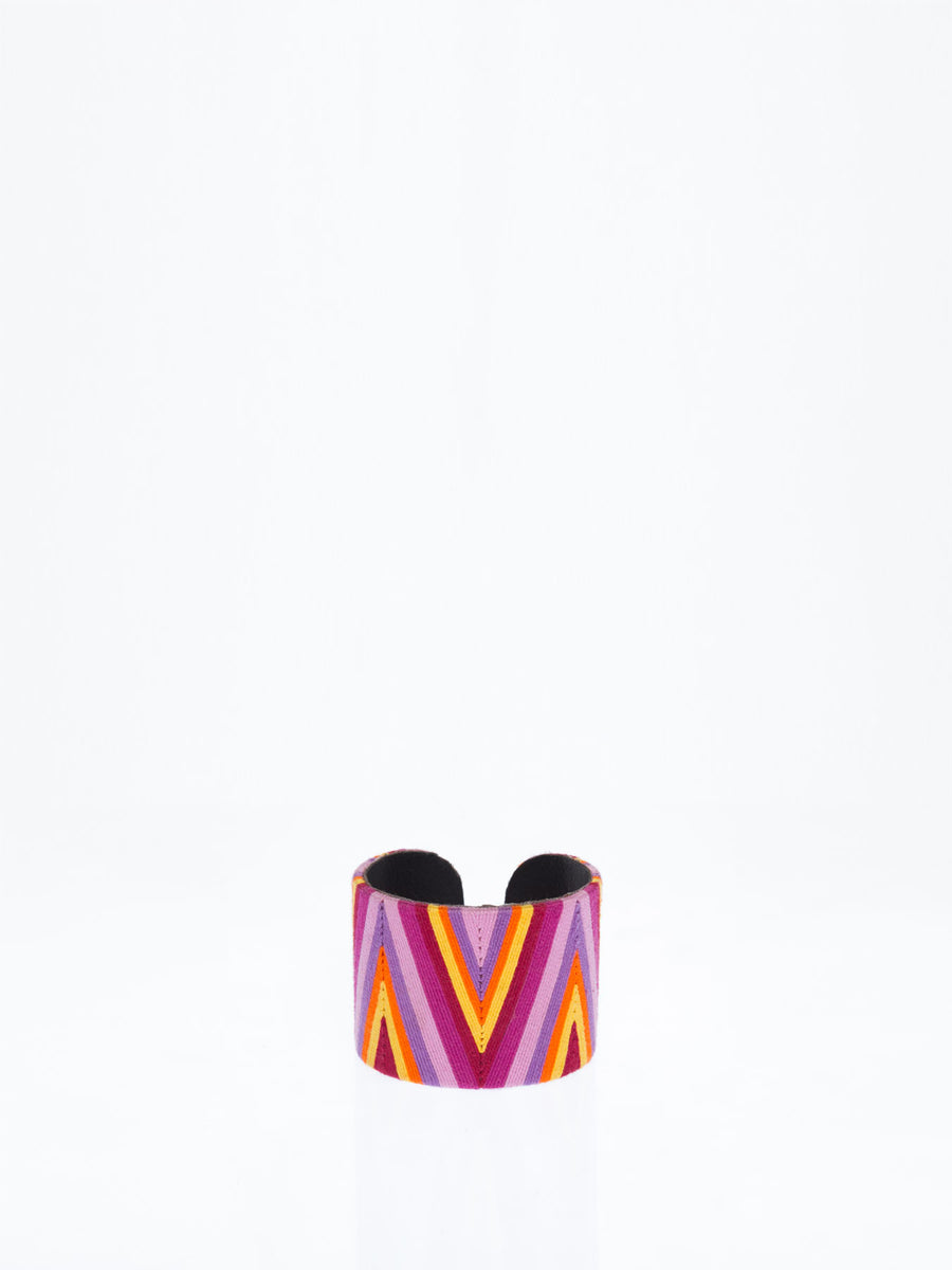 Releve Fashion Beatriz Chevron Cuff Purple Yellow Orange Ethical Designers Sustainable Fashion Brands Artisanal Handmade Accessories Purchase with Purpose Shop for Good