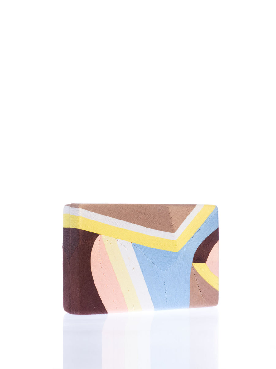 Elina Clutch, Yellow / Blue / Beige