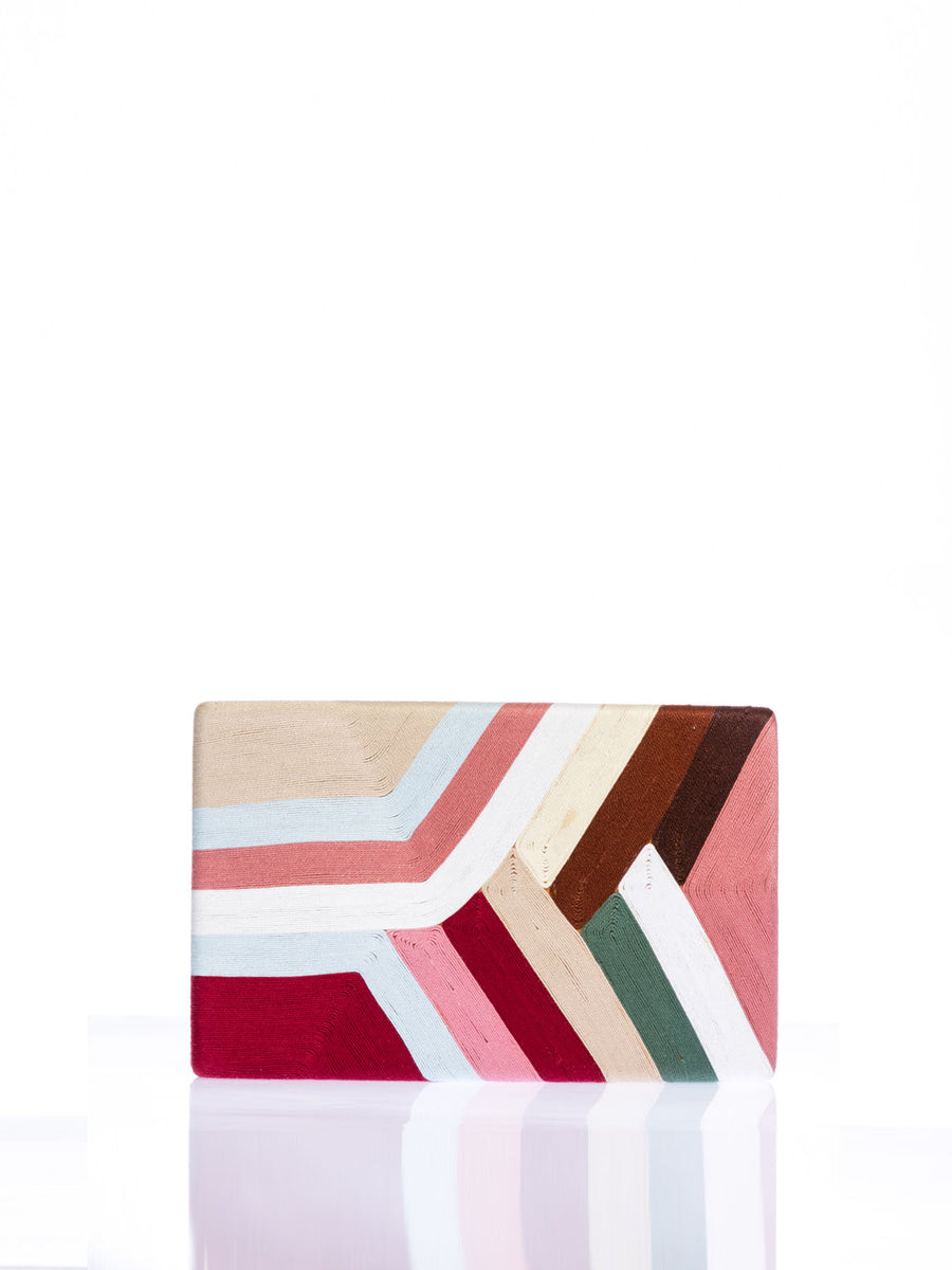 Marge Clutch, Pink / Red / Beige