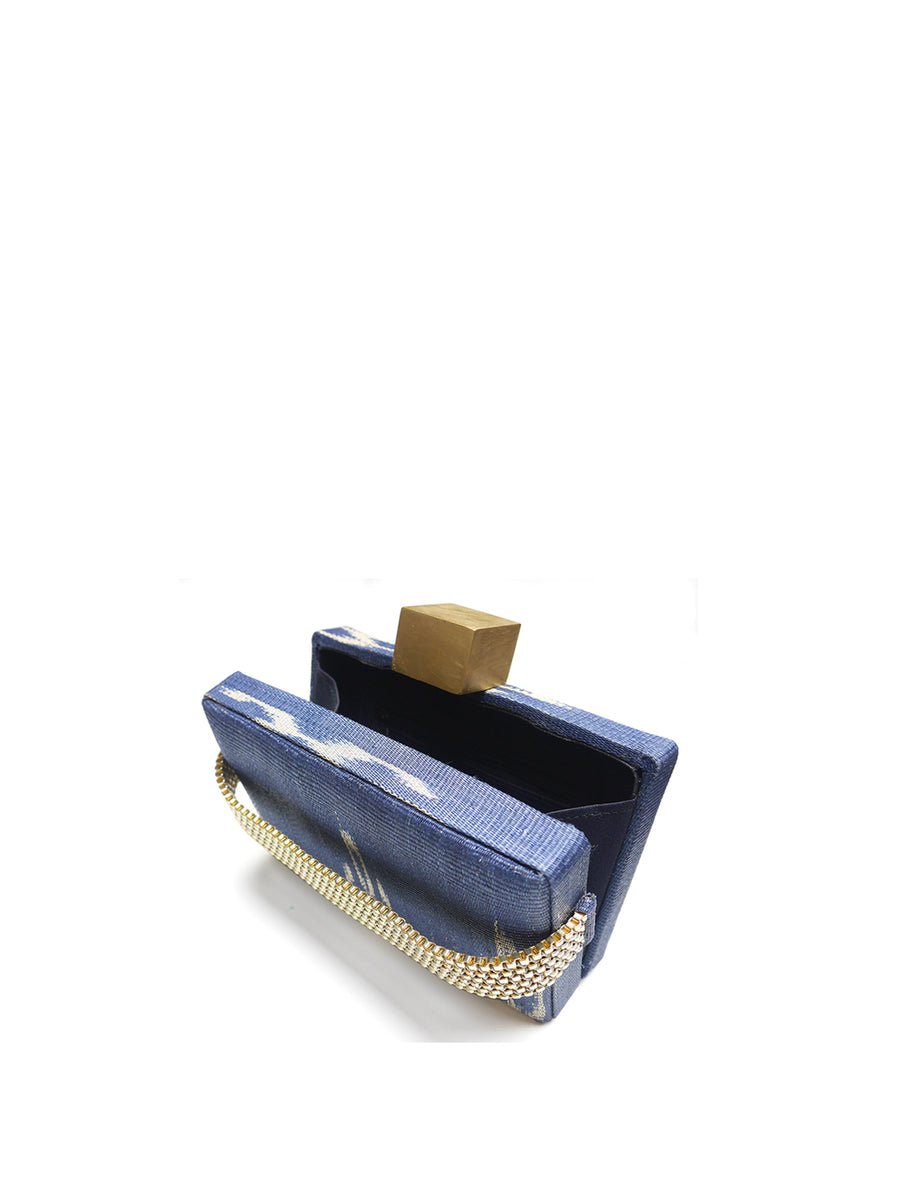 Releve Fashion Clare Hynes Blue Alice Clutch Ethical Designers Sustainable Fashion Brands Purchase with Purpose Shop for Good