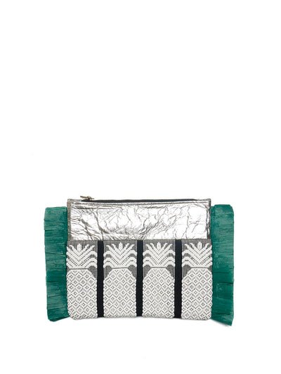 Releve Fashion Clare Hynes Silver Green Black Pinya Clutch Ethical Designers Sustainable Fashion Brands Purchase with Purpose Shop for Good