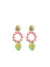 Lola Earrings, Pink and Light Green