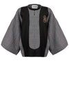 Releve Fashion Harem London Black and White Organic Cotton and Wool Diamond Kimono Jacket Sustainable Streetwear Style Conscious Clothing Ethical Fashion Designer Brand Handmade Purchase with Purpose Shop for Good