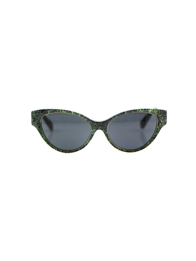 Releve Fashion Heidi London Forest Green Denim Cateye Sunglasses Ethical Designers Sustainable Fashion Accessories Brand Eyewear Positive Fashion Purchase with Purpose Shop for Good