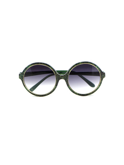 Releve Fashion Heidi London Forest Green Denim Circular Sunglasses Ethical Designers Sustainable Fashion Accessories Brand Eyewear Positive Fashion Purchase with Purpose Shop for Good