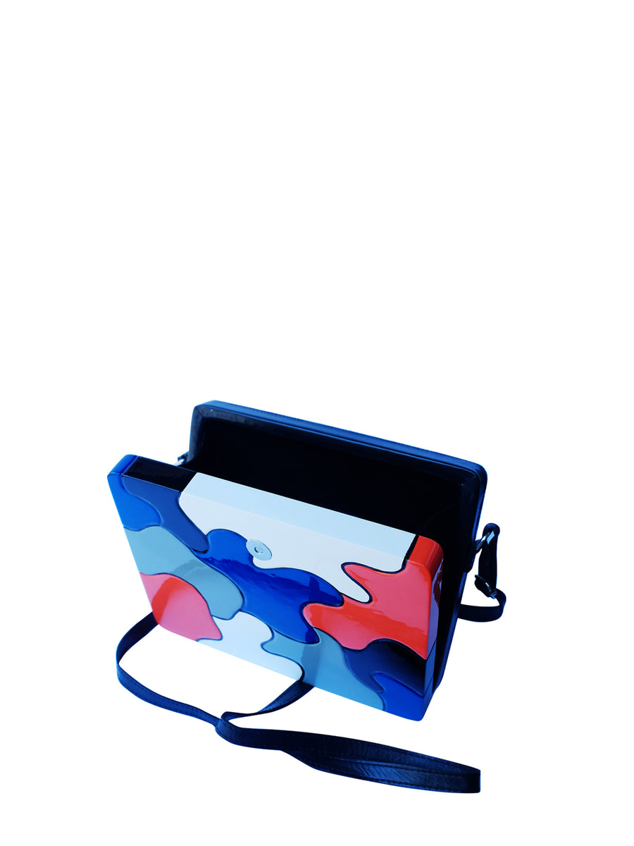 Aurora Clutch Large, Black / Red / Blue / White
