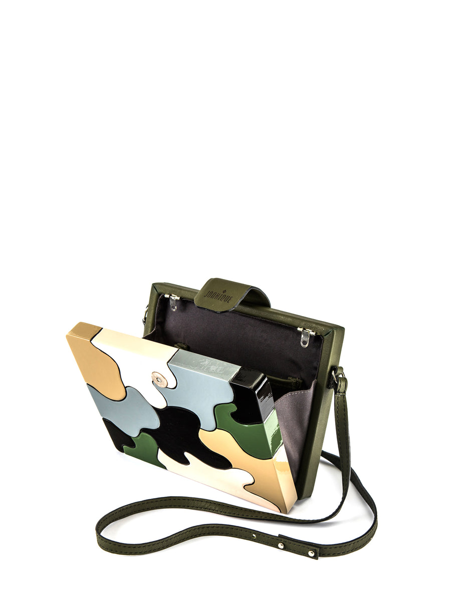 Aurora Clutch Large, Green / Brown / Grey