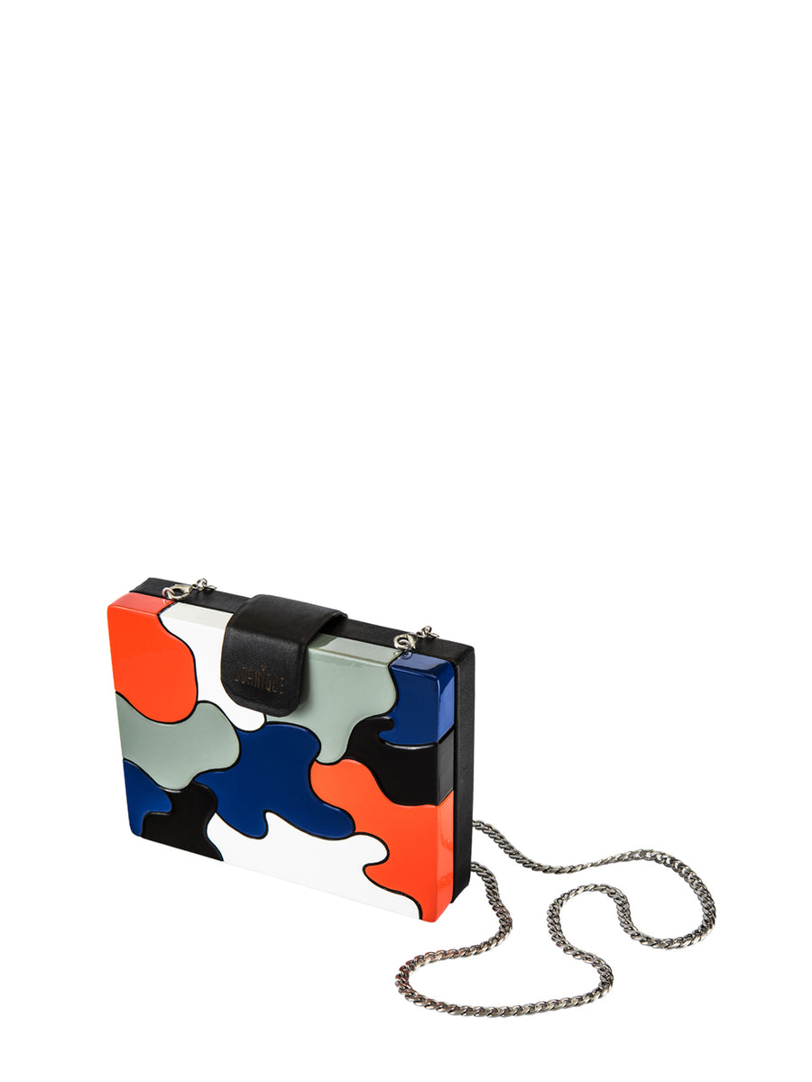 Aurora Clutch Small, Black / Red / Blue / White