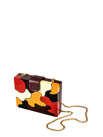 Releve Fashion Joanique Small Aurora Clutch Bag Red Maroon Yellow Orange Ethical Designers Sustainable Fashion Accessory Brand Purchase with Purpose Shop for Good