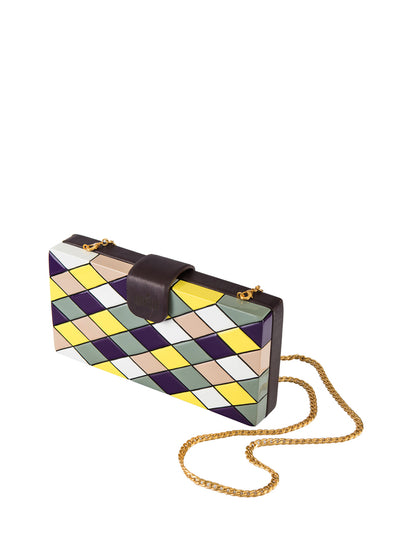 Releve Fashion Joanique Caraga Pattern Play Clutch Bag Purple Yellow Grey Ethical Designers Sustainable Fashion Accessory Brand Purchase with Purpose Shop for Good