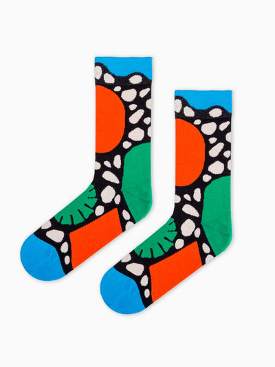 Releve Fashion Look Mate Graphic Socks Primordial Designed by Pedro Veneziano Sustainable Fashion Brand Ethical Designers Conscious Accessories Purchase with Purpose Shop Now for Good