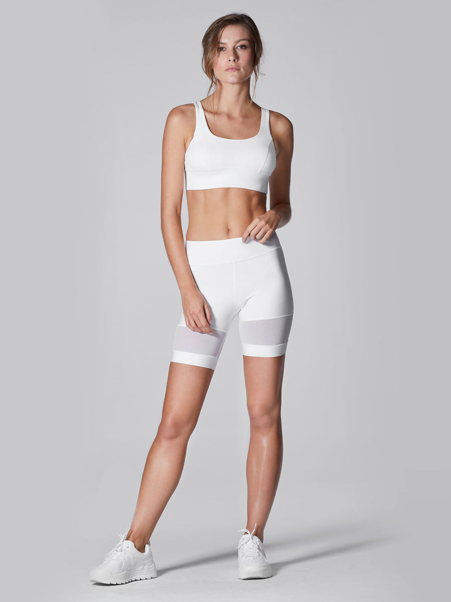 Releve Fashion Michi White Kinetic Short Ethical Designers Sustainable Fashion Athleisure Activewear Brand Positive Luxury Brands to Trust Purchase with Purpose Shop for Good