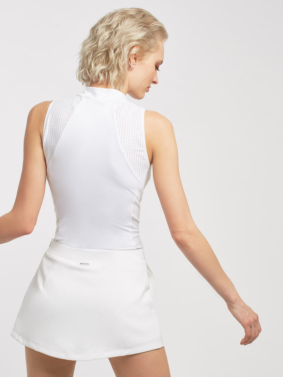 Releve Fashion Michi White Doubles Tank Ethical Designers Sustainable Fashion Athleisure Activewear Brand Positive Luxury Brands to Trust Purchase with Purpose Shop for Good