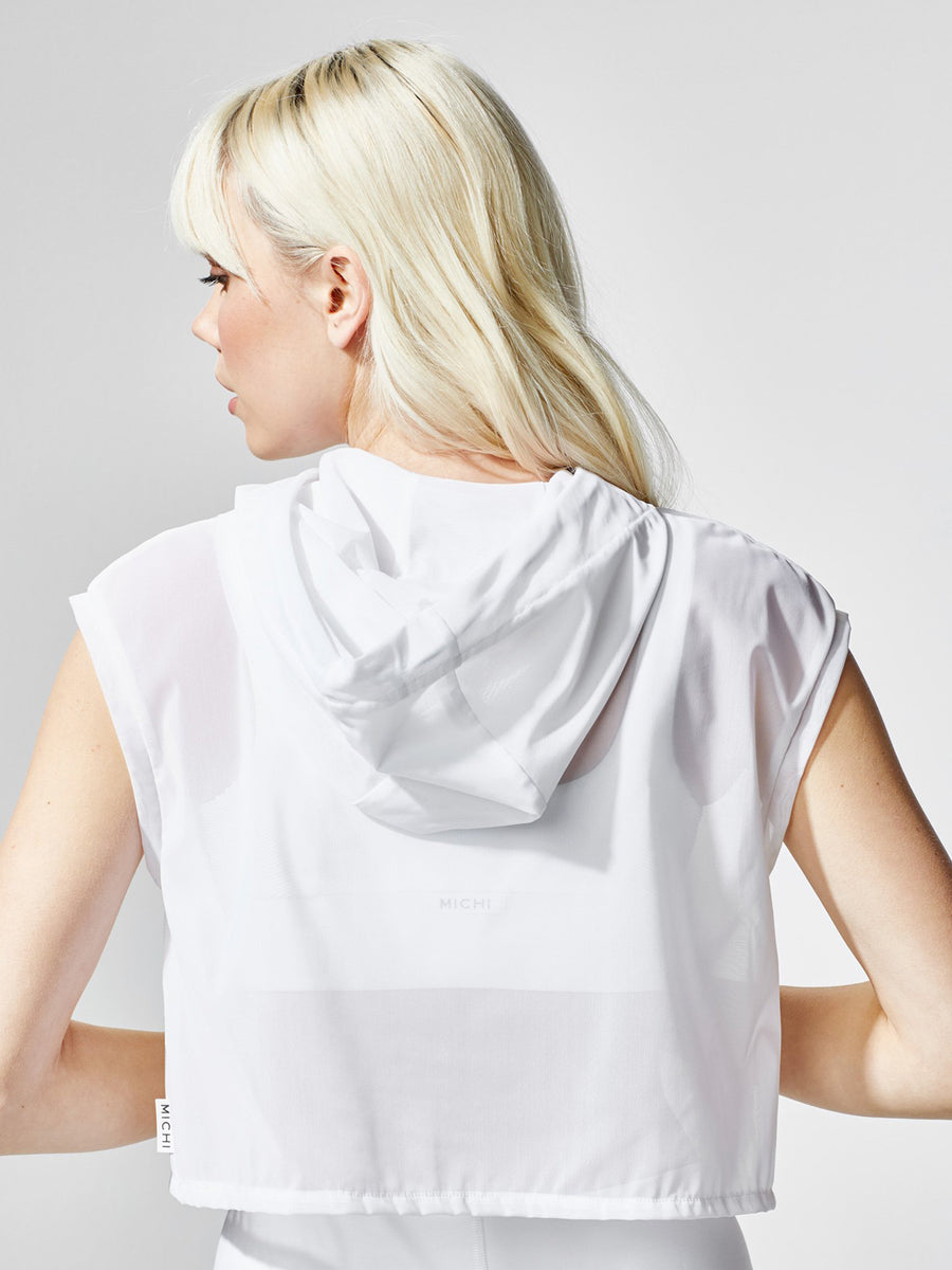 Releve Fashion Michi White Drive Hoodie Ethical Designers Sustainable Fashion Athleisure Activewear Brand Positive Luxury Brands to Trust Purchase with Purpose Shop for Good