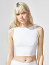 Releve Fashion Michi White Formula Crop Top Ethical Designers Sustainable Fashion Athleisure Activewear Brand Positive Luxury Brands to Trust Purchase with Purpose Shop for Good