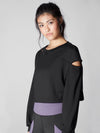 Releve Fashion Michi Black Fusion Crop Sweatshirt Sustainable Fashion Athleisure Activewear Brand Positive Luxury Brands to Trust Purchase with Purpose Shop for Good