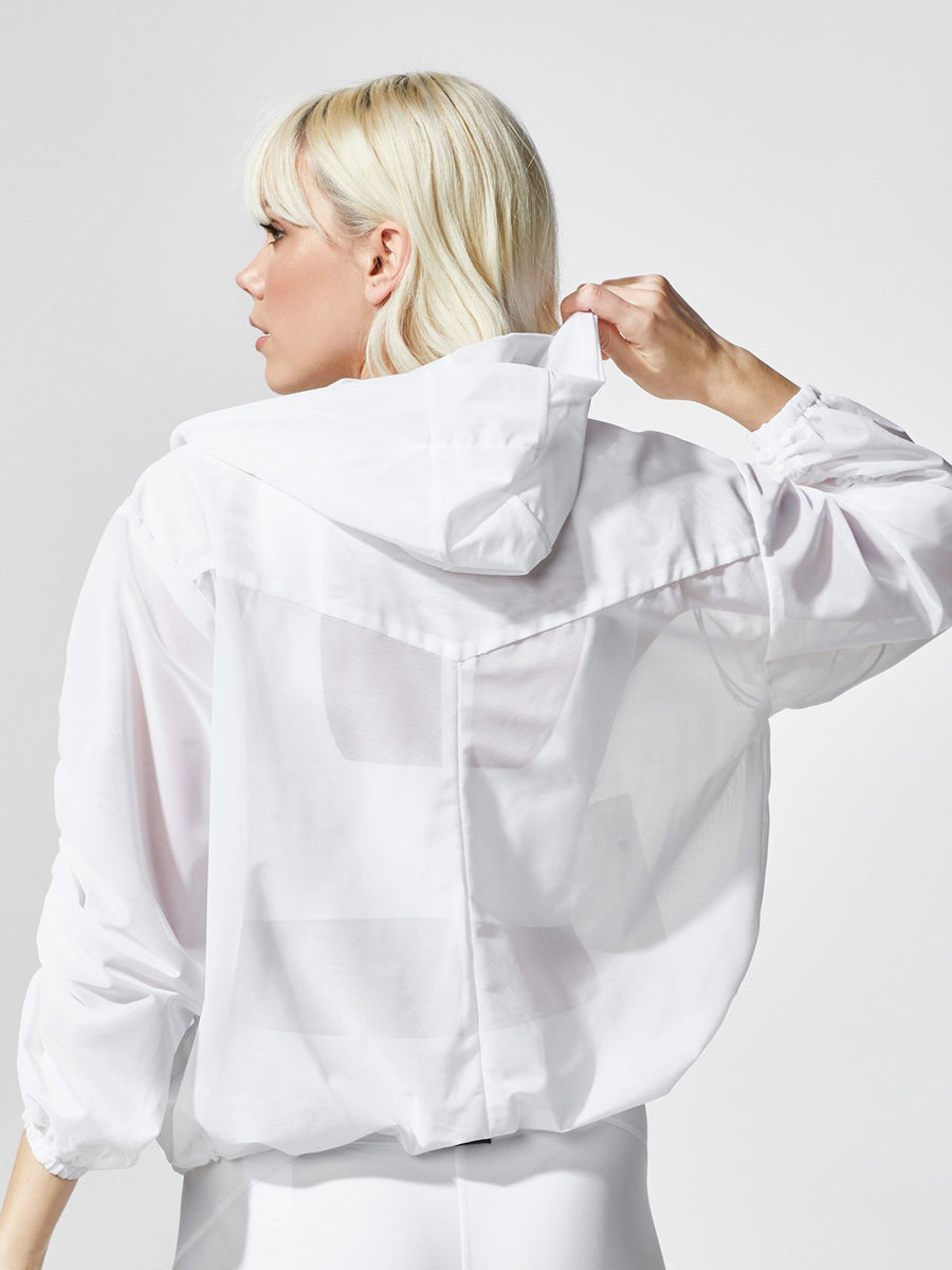 Releve Fashion Michi White Indy Jacket Ethical Designers Sustainable Fashion Athleisure Activewear Brand Positive Luxury Brands to Trust Purchase with Purpose Shop for Good