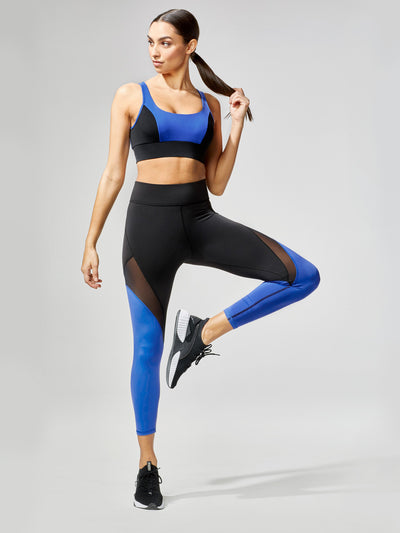 Releve Fashion Michi Inversion Crop Legging Royal Blue Black Sustainable Fashion Athleisure Activewear Brand Positive Luxury Brands to Trust Purchase with Purpose Shop for Good