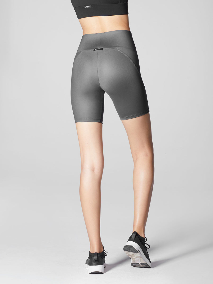 Releve Fashion Michi Gunmetal Liquid Bike Short Ethical Designers Sustainable Fashion Athleisure Activewear Brand Positive Luxury Brands to Trust Purchase with Purpose Shop for Good