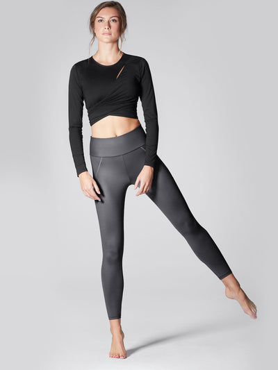 Releve Fashion Michi Gunmetal Liquid High Waisted Legging Ethical Designers Sustainable Fashion Athleisure Activewear Brand Positive Luxury Brands to Trust Purchase with Purpose Shop for Good