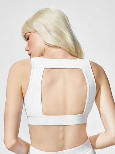 Releve Fashion Michi White Match Bra Ethical Designers Sustainable Fashion Athleisure Activewear Brand Positive Luxury Brands to Trust Purchase with Purpose Shop for Good