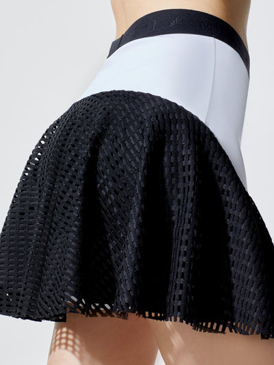Releve Fashion Michi White Black Square Mesh Match Skirt Ethical Designers Sustainable Fashion Athleisure Activewear Brand Positive Luxury Brands to Trust Purchase with Purpose Shop for Good