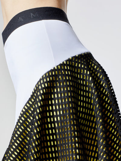 Releve Fashion Michi White Yellow Black Match Skirt Ethical Designers Sustainable Fashion Athleisure Activewear Brand Positive Luxury Brands to Trust Purchase with Purpose Shop for Good