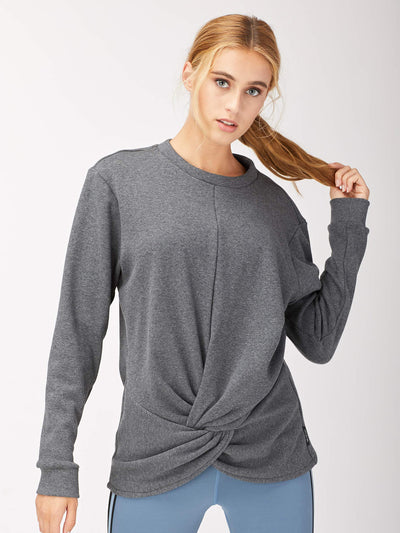 Releve Fashion Michi Charcoal Grey Farfalla Sweatshirt Activewear Athleisure Wear Ethical Designers Sustainable Fashion Brands Purchase with Purpose Shop for Good