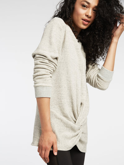 Releve Fashion Michi Heather Grey Farfalla Sweatshirt Activewear Athleisure Wear Ethical Designers Sustainable Fashion Brands Purchase with Purpose Shop for Good
