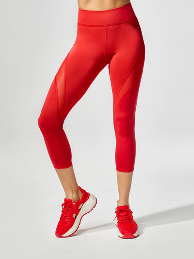 Releve Fashion Inversion Crop Legging Fire Red Sustainable Fashion Athleisure Activewear Brand Positive Luxury Brands to Trust Purchase with Purpose Shop for Good