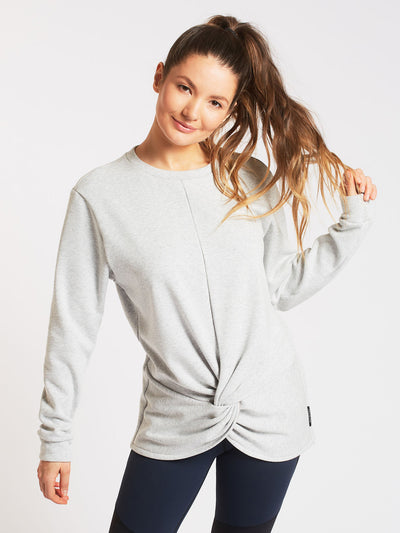Releve Fashion Michi Light Heather Grey Farfalla Sweatshirt Activewear Athleisure Wear Ethical Designers Sustainable Fashion Brands Purchase with Purpose Shop for Good
