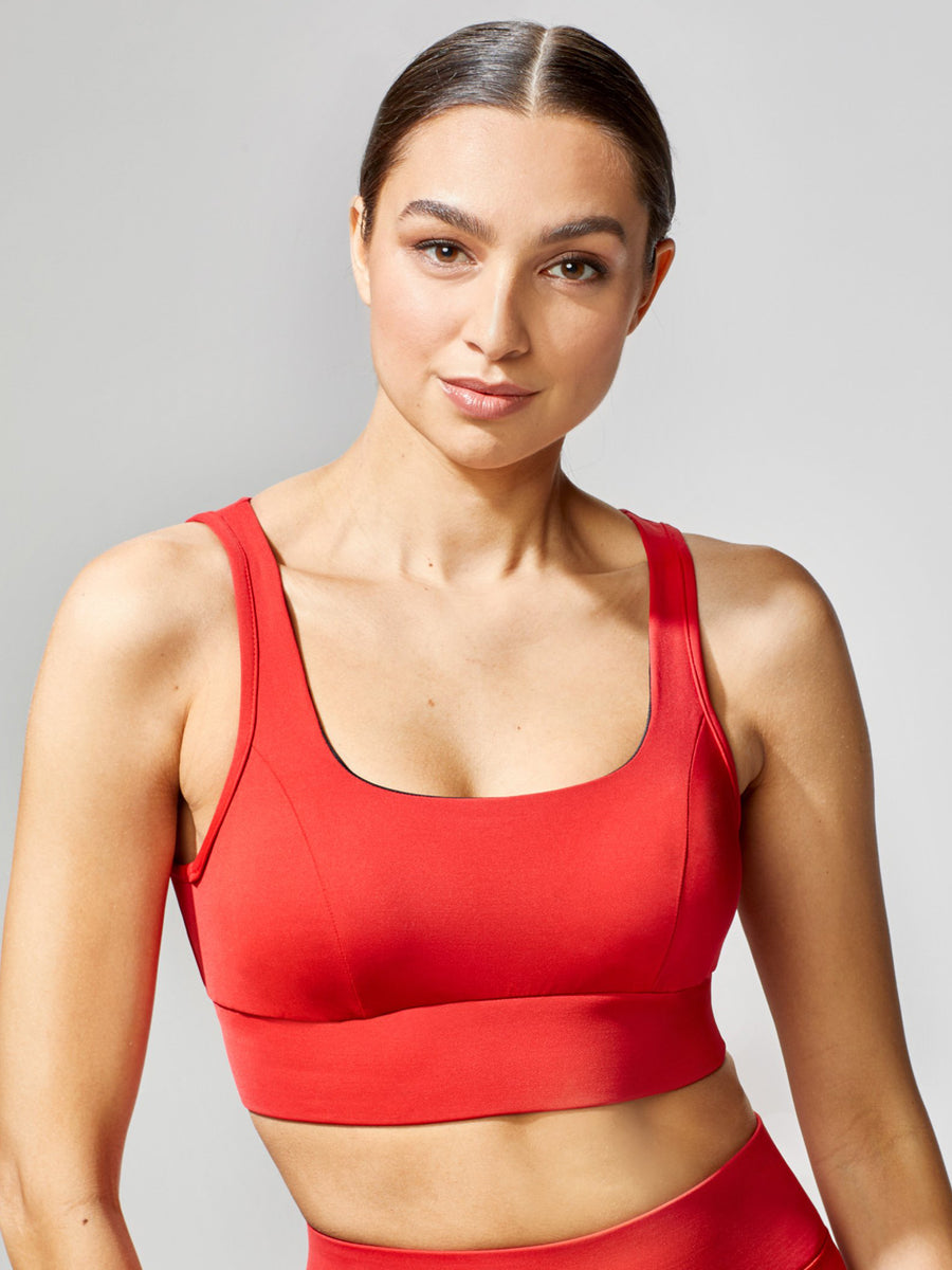 Releve Fashion Michi Power Bra Fire Red Sustainable Fashion Athleisure Activewear Brand Positive Luxury Brands to Trust Purchase with Purpose Shop for Good