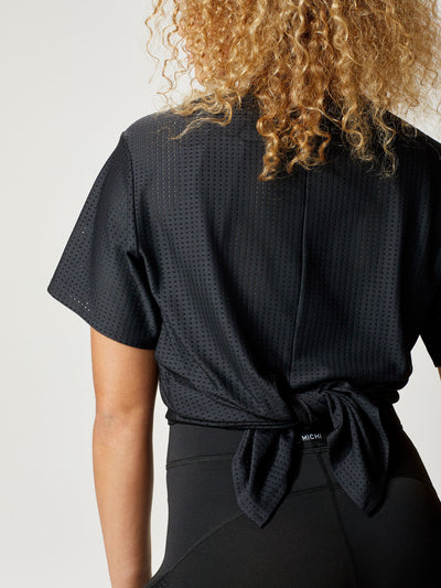 Releve Fashion Michi Black Airwave Tie Top Ethical Designer Brand Sustainable Fashion Athleisure Activewear Athleticwear Positive Luxury Brands to Trust Purchase with Purpose Shop for Good