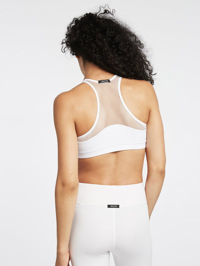 Releve Fashion Michi White Bionic Sports Bra Ethical Designer Brand Sustainable Fashion Swimwear Athleisure Activewear Athleticwear Positive Luxury Brands to Trust Purchase with Purpose Shop for Good