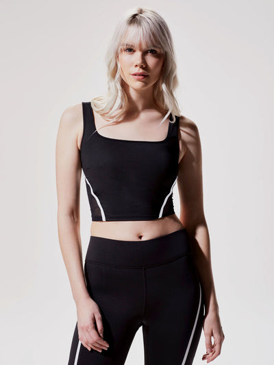 Releve Fashion Michi Black White Cadence Crop Top Ethical Designer Brand Sustainable Fashion Swimwear Athleisure Activewear Athleticwear Positive Luxury Brands to Trust Purchase with Purpose Shop for Good