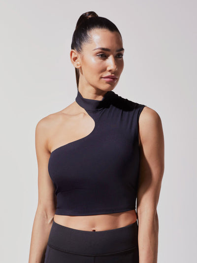 Releve Fashion Michi Black Eclipse Crop Top Ethical Designer Brand Sustainable Fashion Athleisure Activewear Athleticwear Positive Luxury Brands to Trust Purchase with Purpose Shop for Good