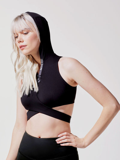 Releve Fashion Michi Black Elektra Hooded Crop Top Ethical Designer Brand Sustainable Fashion Athleisure Activewear Athleticwear Positive Luxury Brands to Trust Purchase with Purpose Shop for Good