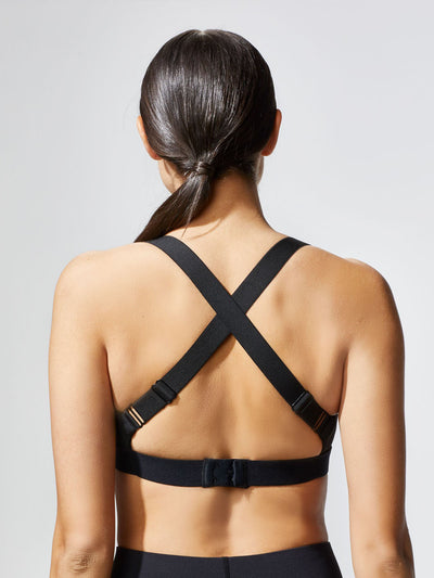 Releve Fashion Michi Black Feline Bra Ethical Designer Brand Sustainable Fashion Athleisure Activewear Athleticwear Positive Luxury Brands to Trust Purchase with Purpose Shop for Good