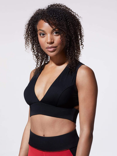Releve Fashion Michi Black Flare Sports Bra Ethical Designer Brand Sustainable Fashion Athleisure Activewear Athleticwear Positive Luxury Brands to Trust Purchase with Purpose Shop for Good