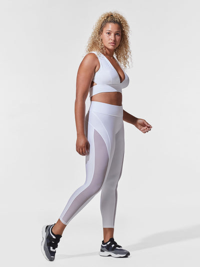 Releve Fashion Michi White Flare Sports Bra Ethical Designer Brand Sustainable Fashion Athleisure Activewear Athleticwear Positive Luxury Brands to Trust Purchase with Purpose Shop for Good