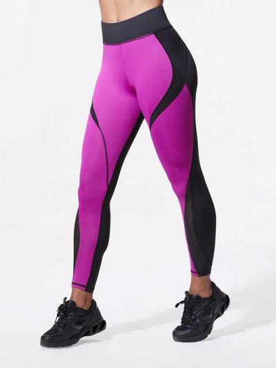 Releve Fashion Michi Black Magenta Flare Leggings Ethical Designer Brand Sustainable Fashion Athleisure Activewear Athleticwear Positive Luxury Brands to Trust Purchase with Purpose Shop for Good