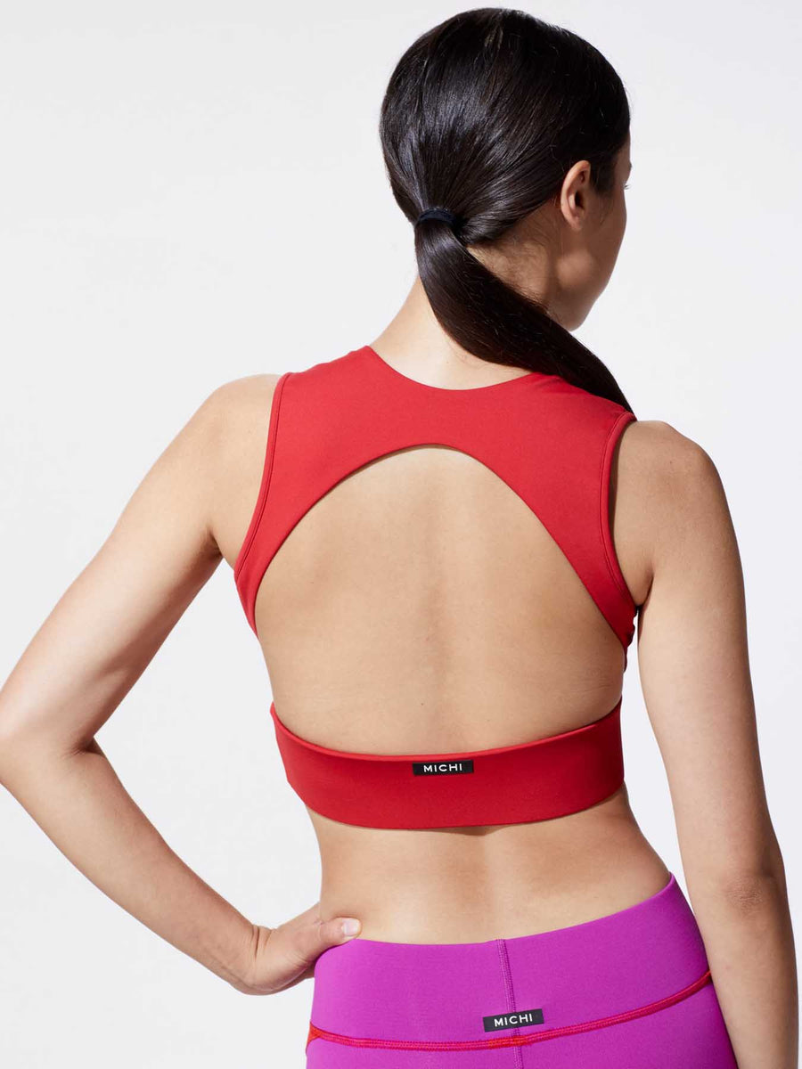 Releve Fashion Michi Fire Red Flare Sports Bra Ethical Designer Brand Sustainable Fashion Athleisure Activewear Athleticwear Positive Luxury Brands to Trust Purchase with Purpose Shop for Good