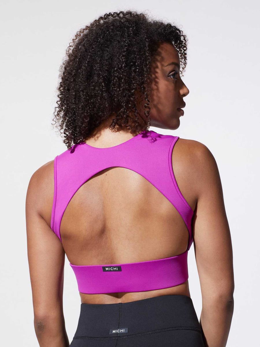 Releve Fashion Michi Magenta Flare Sports Bra Ethical Designer Brand Sustainable Fashion Athleisure Activewear Athleticwear Positive Luxury Brands to Trust Purchase with Purpose Shop for Good'