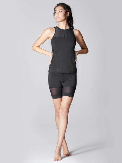 Releve Fashion Michi Black Galaxy Tank Top Ethical Designer Brand Sustainable Fashion Athleisure Activewear Athleticwear Positive Luxury Brands to Trust Purchase with Purpose Shop for Good