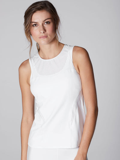 Releve Fashion Michi White Galaxy Tank Top Ethical Designer Brand Sustainable Fashion Athleisure Activewear Athleticwear Positive Luxury Brands to Trust Purchase with Purpose Shop for Good
