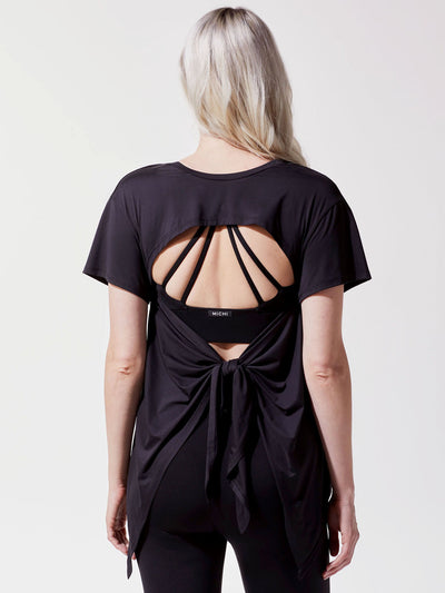 Releve Fashion Michi Black Gemini Top Ethical Designer Brand Sustainable Fashion Athleisure Activewear Athleticwear Positive Luxury Brands to Trust Purchase with Purpose Shop for Good