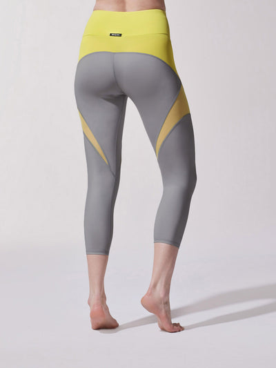 Releve Fashion Michi Platinum Acid Yellow Glow Crop Legging Ethical Designer Brand Sustainable Fashion Athleisure Activewear Athleticwear Positive Luxury Brands to Trust Purchase with Purpose Shop for Good